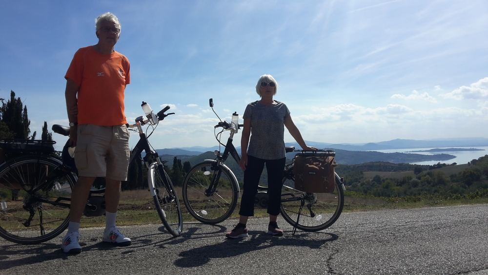 Deborah maby & christian wolmar on an electric bike safari day