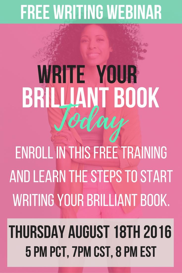 Free Writing Training Write Your Brilliant Book Webinar