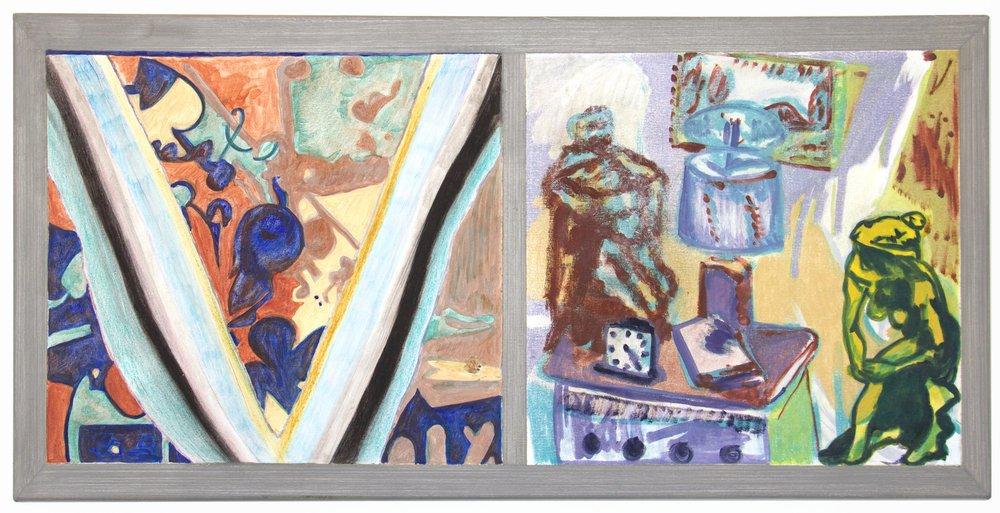 """Leo Loves 22""""X45"""" oil & acrylic on canvas"""