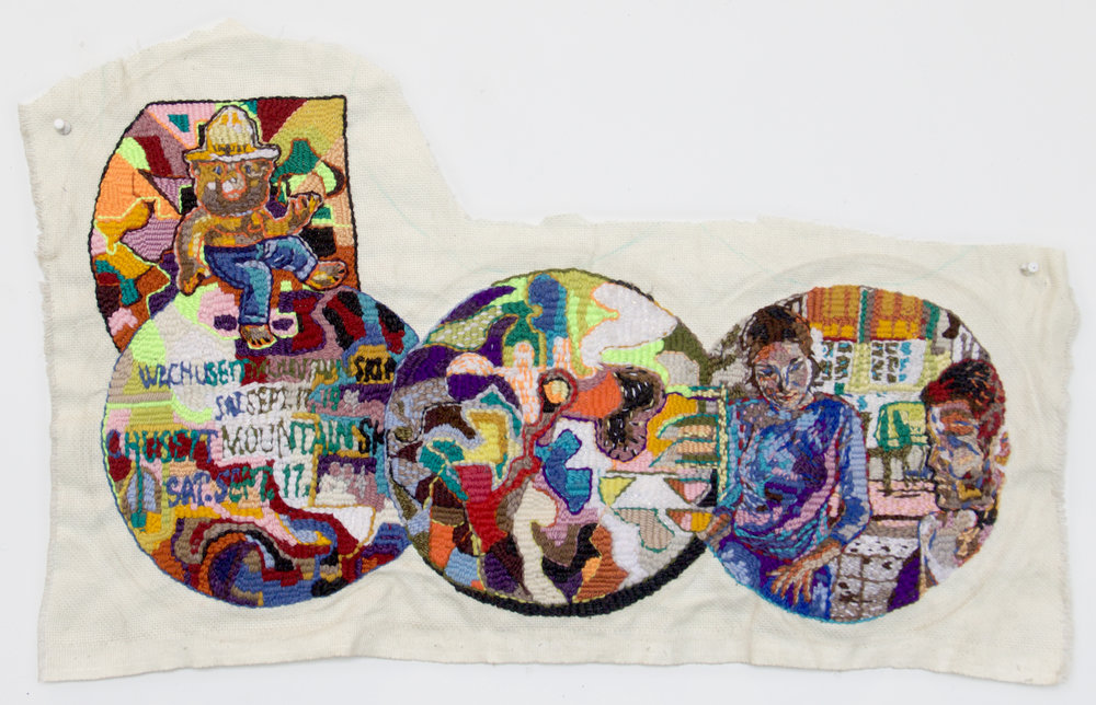 """Smokey and a Love Song for Bobby 14""""X30"""" wool, polyester, cotton, thumb tacks"""