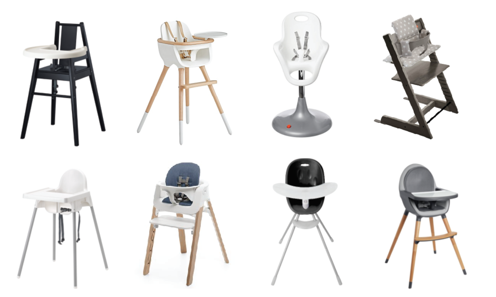 From left to right, top row: Ikea Blames, Ovo Max Luxe, Boon Flair, Stokke Tripp Trapp / bottom row: Ikea Antilop, Stokke Steps, Phil&Ted's Poppy, SkipHop Tuo.