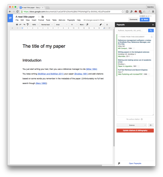 as you add references they both get added to your own paperpile collection and stored in the google doc itself so all collaborators can see them and