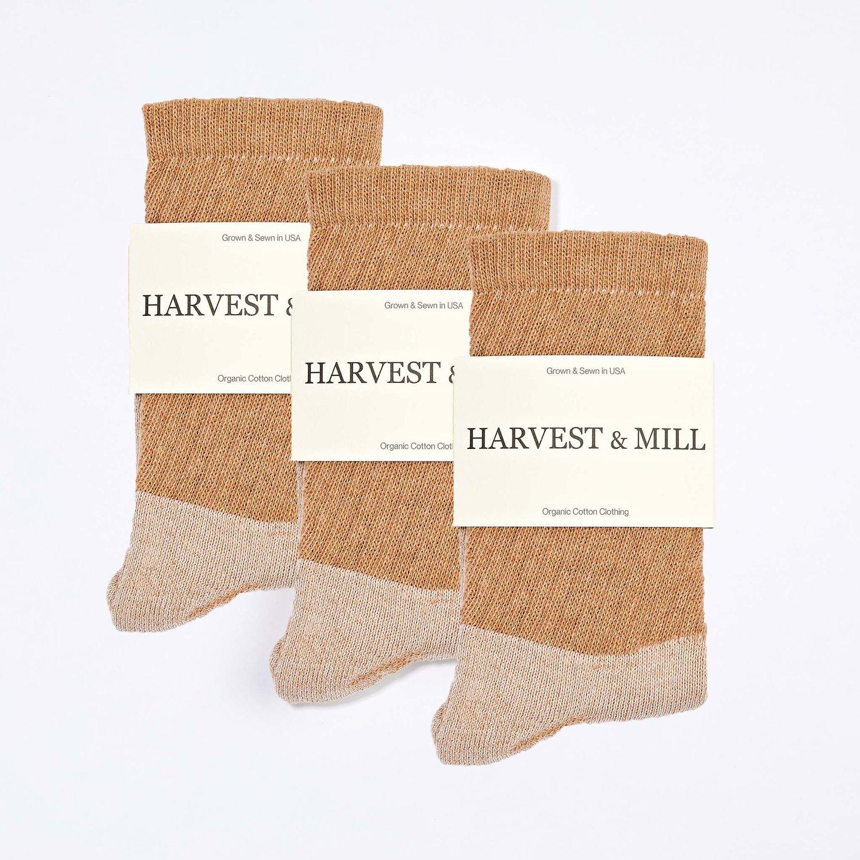 3 Pack Organic Cotton Socks Brown Crew