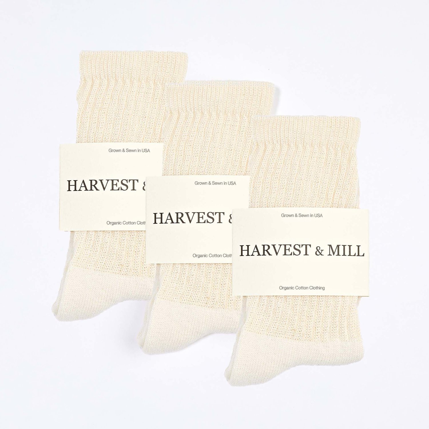 3 Pack Organic Cotton Socks Natural-White Crew — Harvest & Mill | organic  cotton clothing | grown & sewn in USA