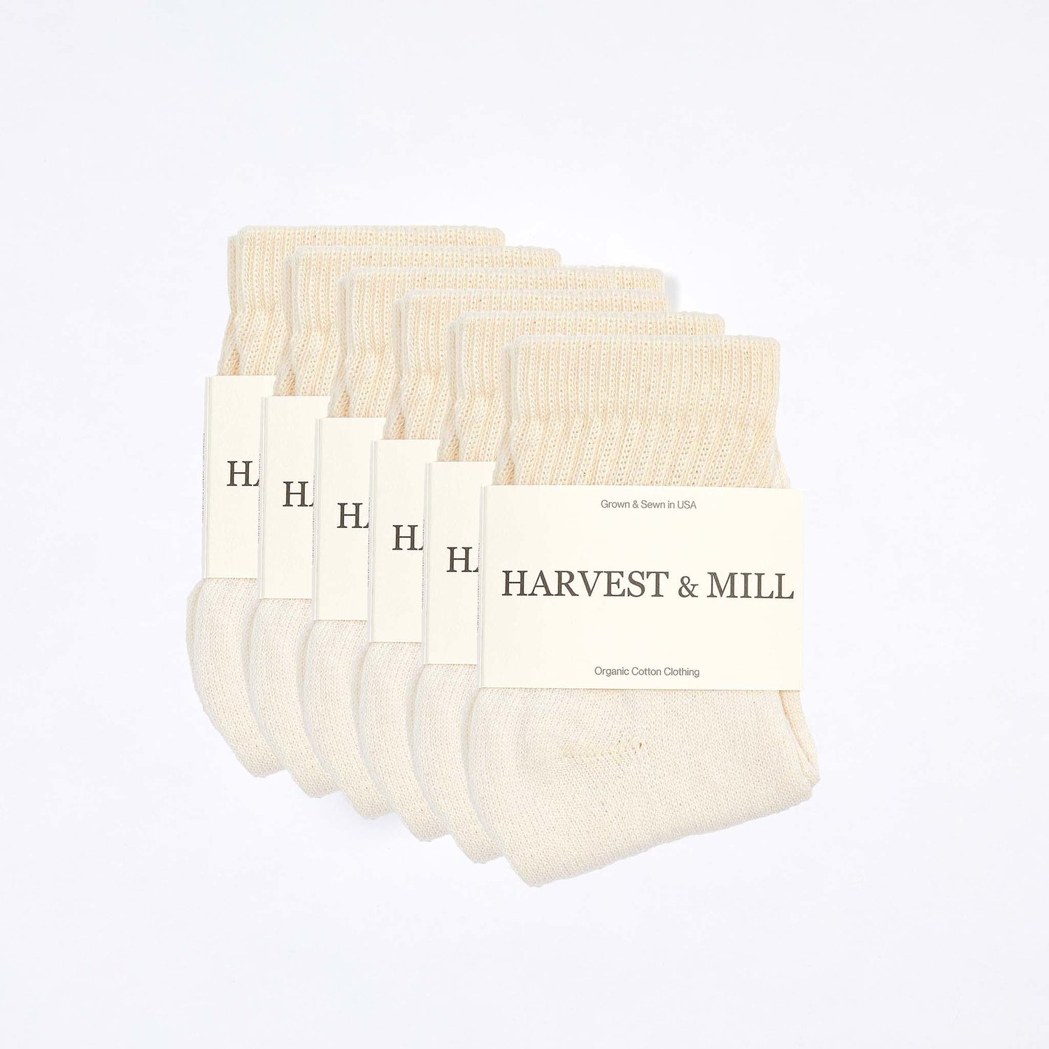 6 Pack Organic Cotton Socks Natural-White Ankle — Harvest & Mill | organic  cotton clothing | grown & sewn in USA