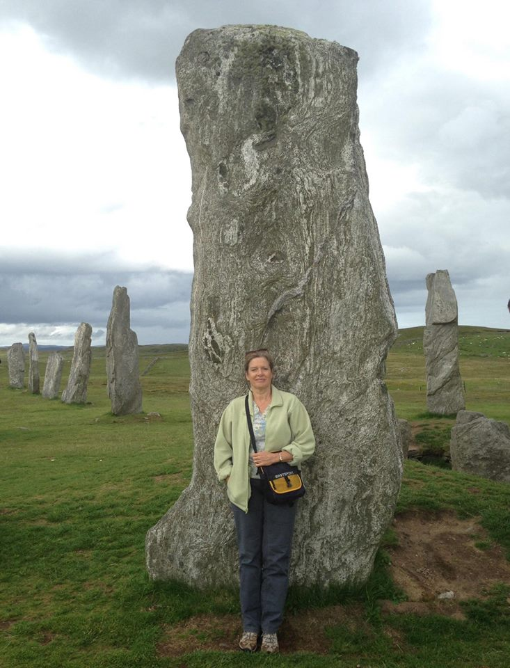 Dahlia at Callanish Standing Stones, Isle of Lewis, Scotland.