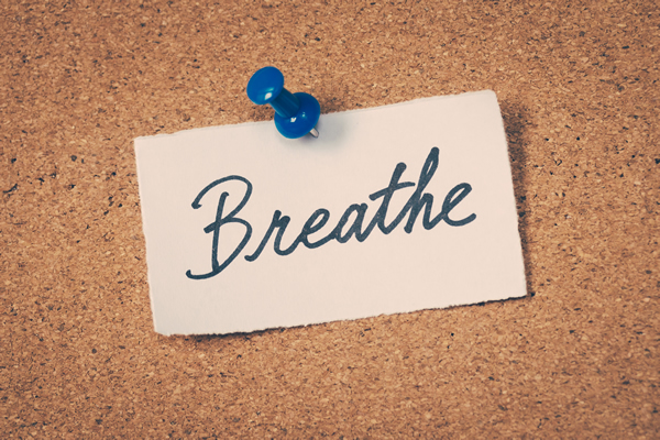 Post-It Note stating Breathe