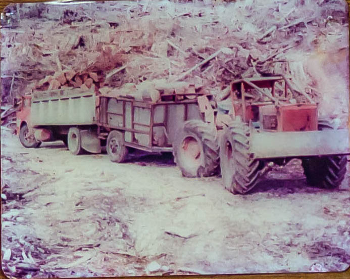 An old 205 timberjack skidder loading blocks to be taken out of the bush
