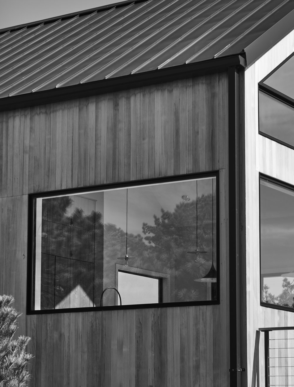 Black and white modern Hamptons barn outside detail
