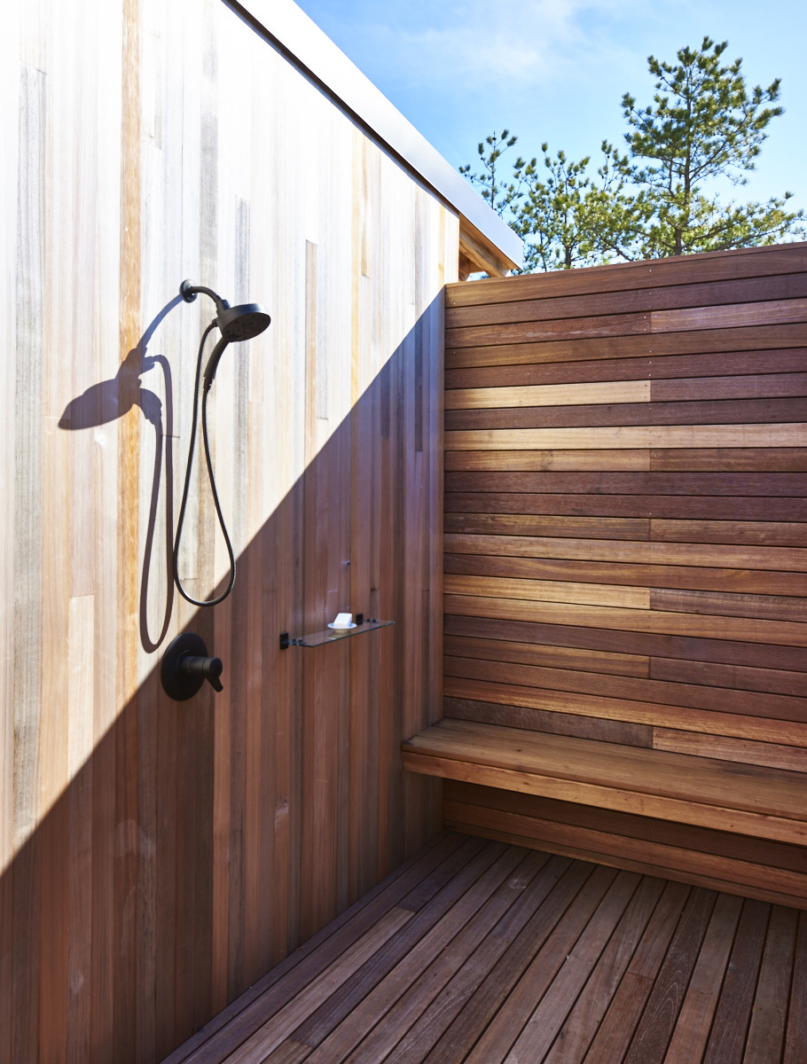 Modern Hamptons barn wood paneled outdoor shower