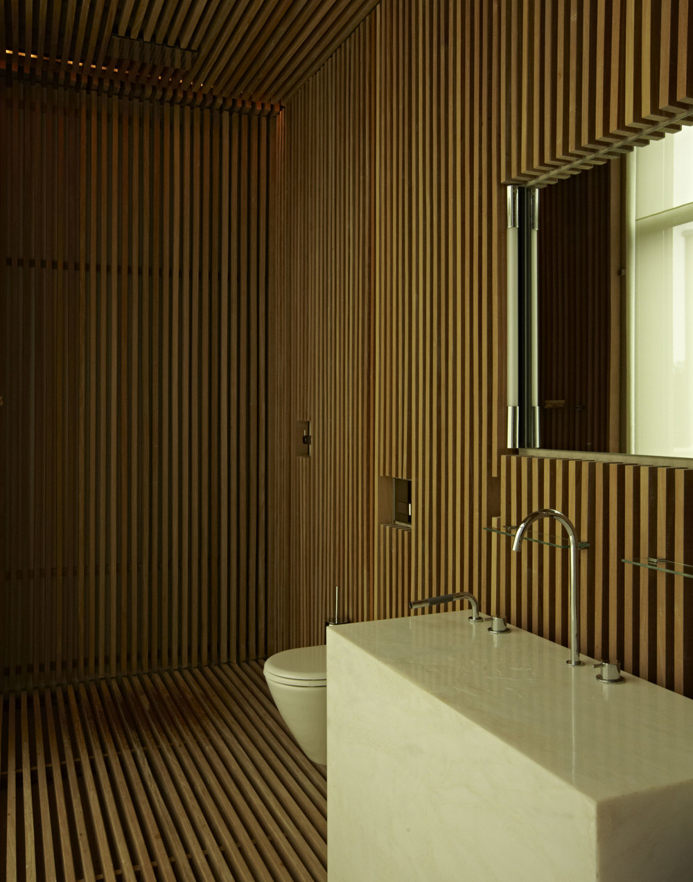 Bridgehampton wood slat bathroom