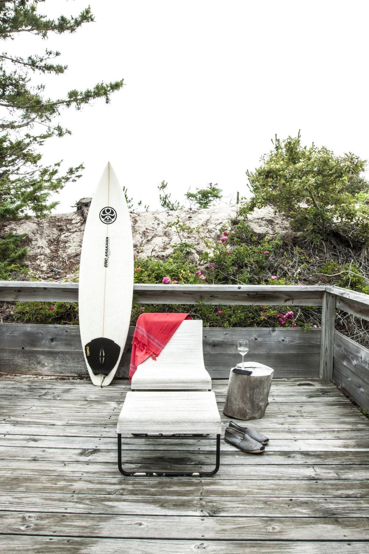 Amagansett Beach House wood deck surfing lounge chair