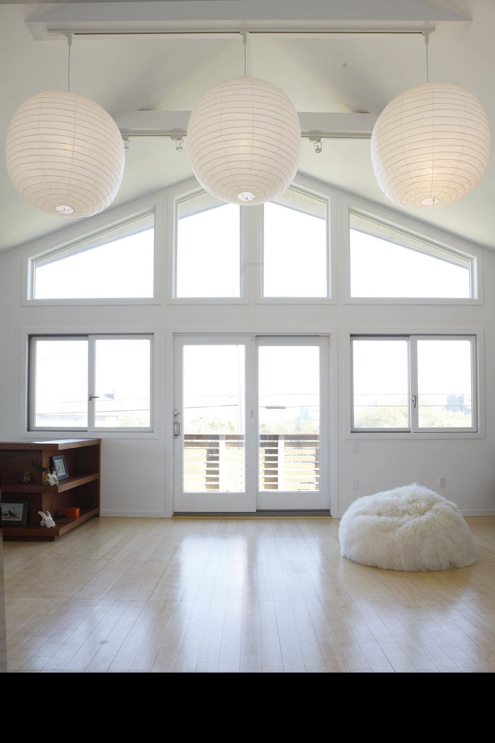 Montauk Beach Home upside house interior natural light windows a-frame