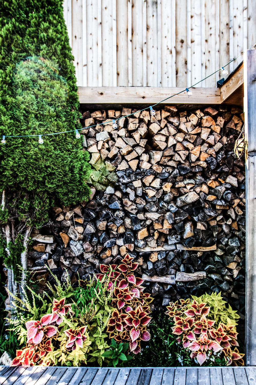 Hotel and restaurant surf shack fire logs in Montauk, New York