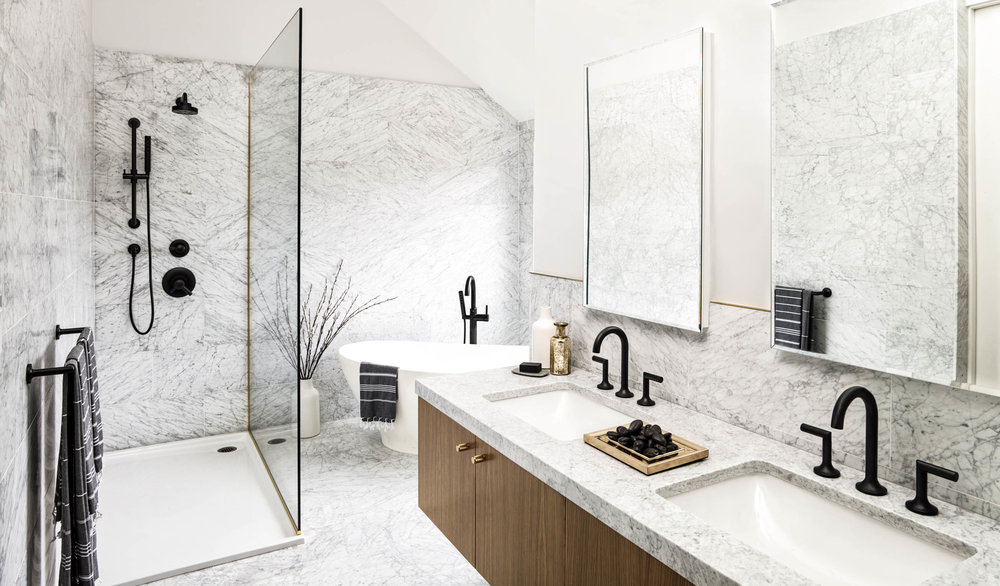 Modern Hamptons barn master marble bathroom