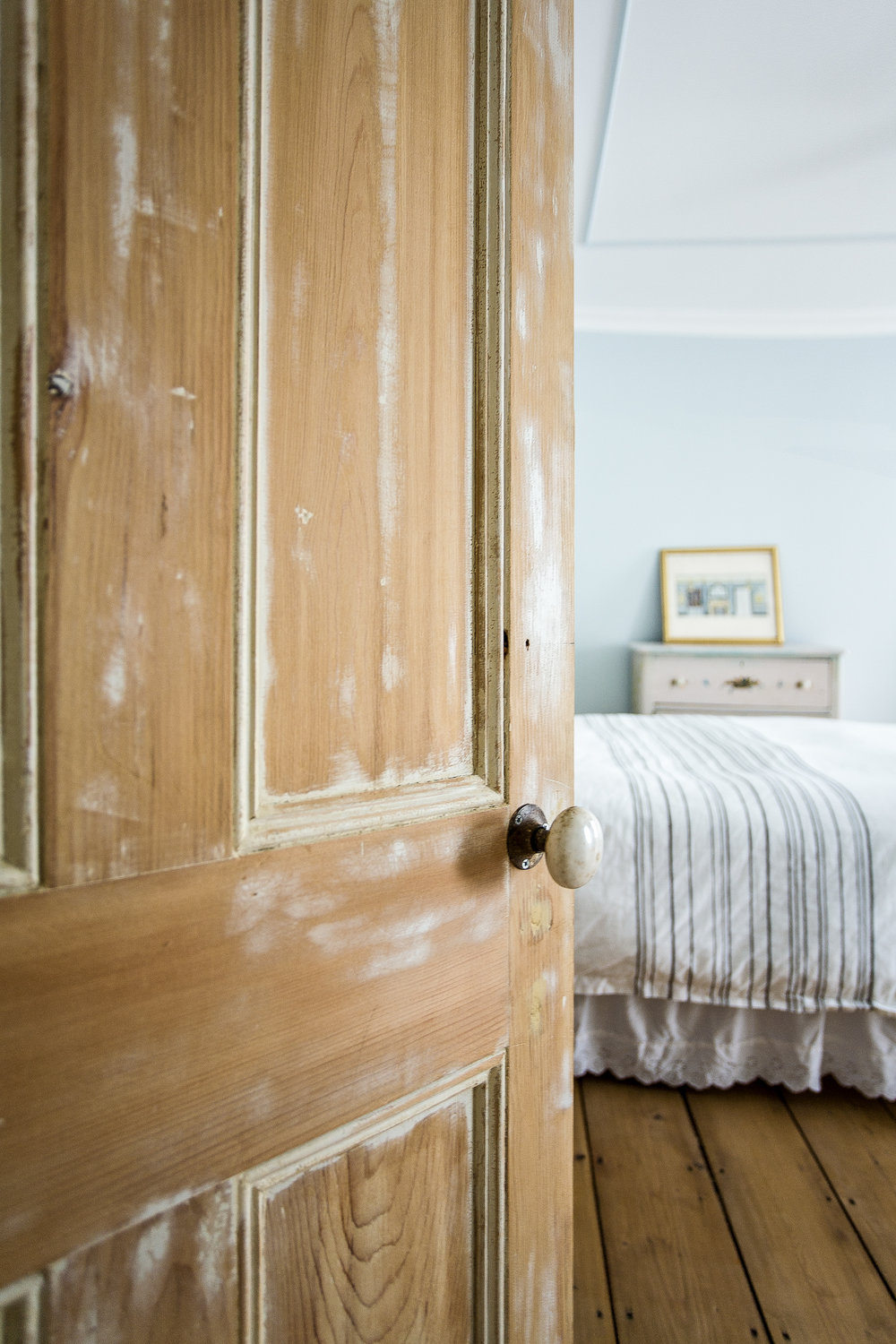 Southampton bedroom aged wood door