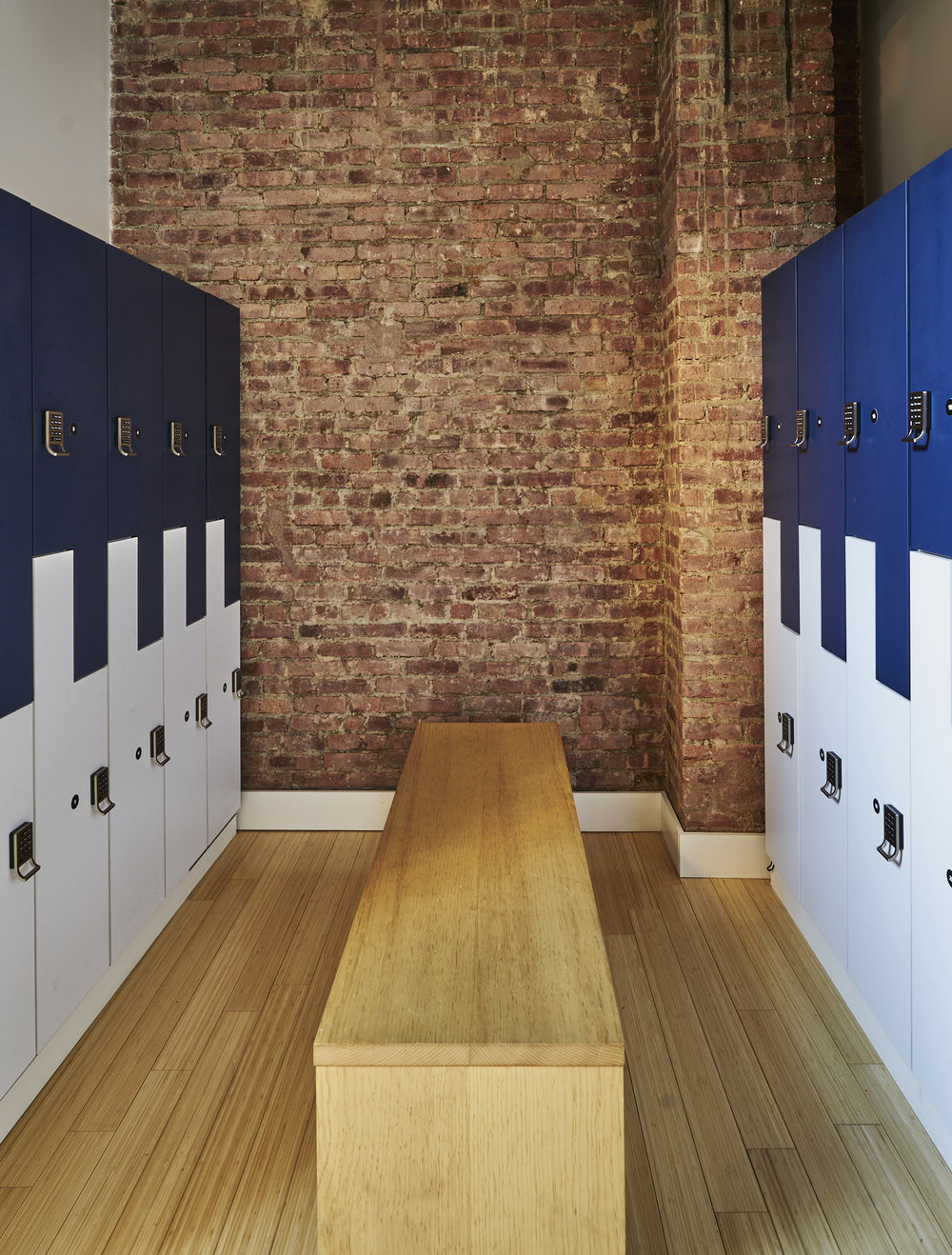 Locker room in a modern workout space and Pilates studio in Chelsea, NY