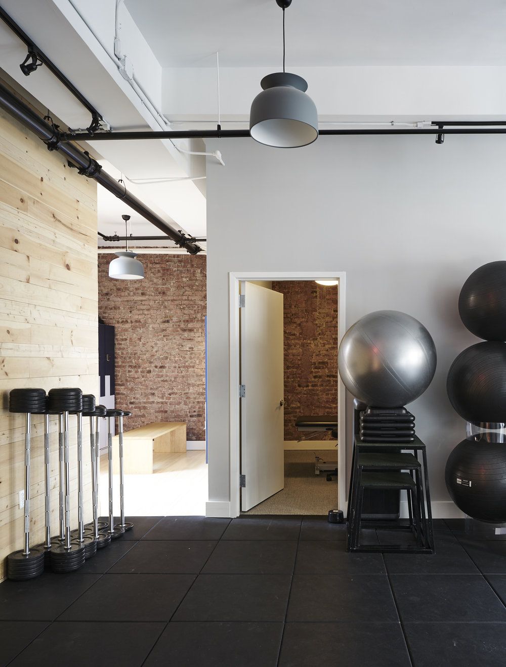 Interior design workout room in modern Pilates studio in Chelsea, NY
