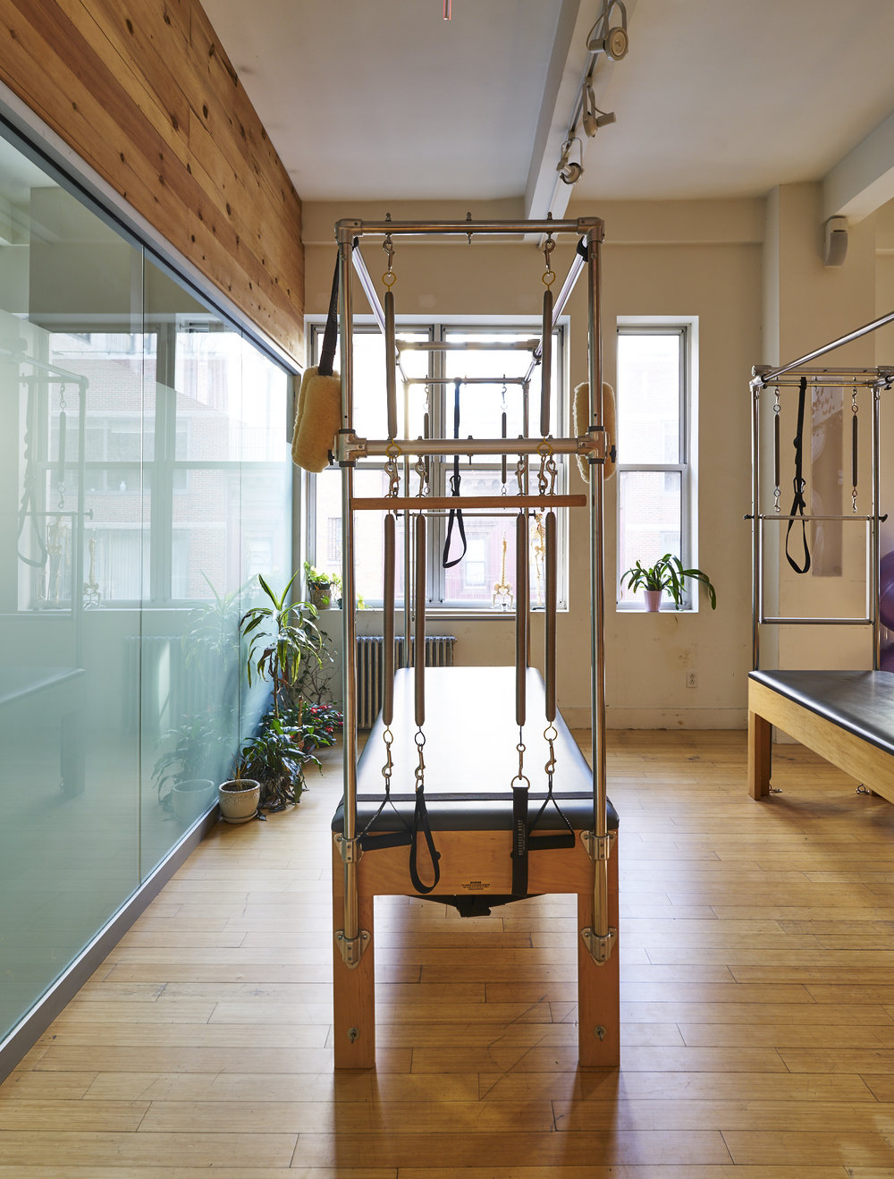 Equipment in a modern workout space and Pilates studio in Chelsea, NY