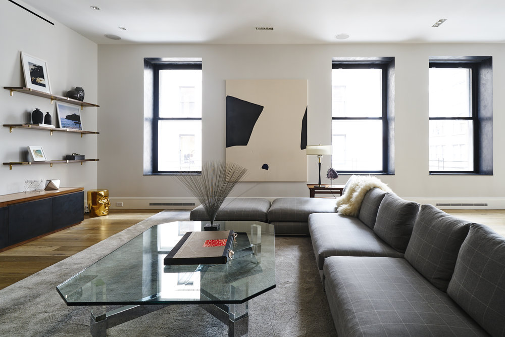 Modern Soho loft renovation living room art
