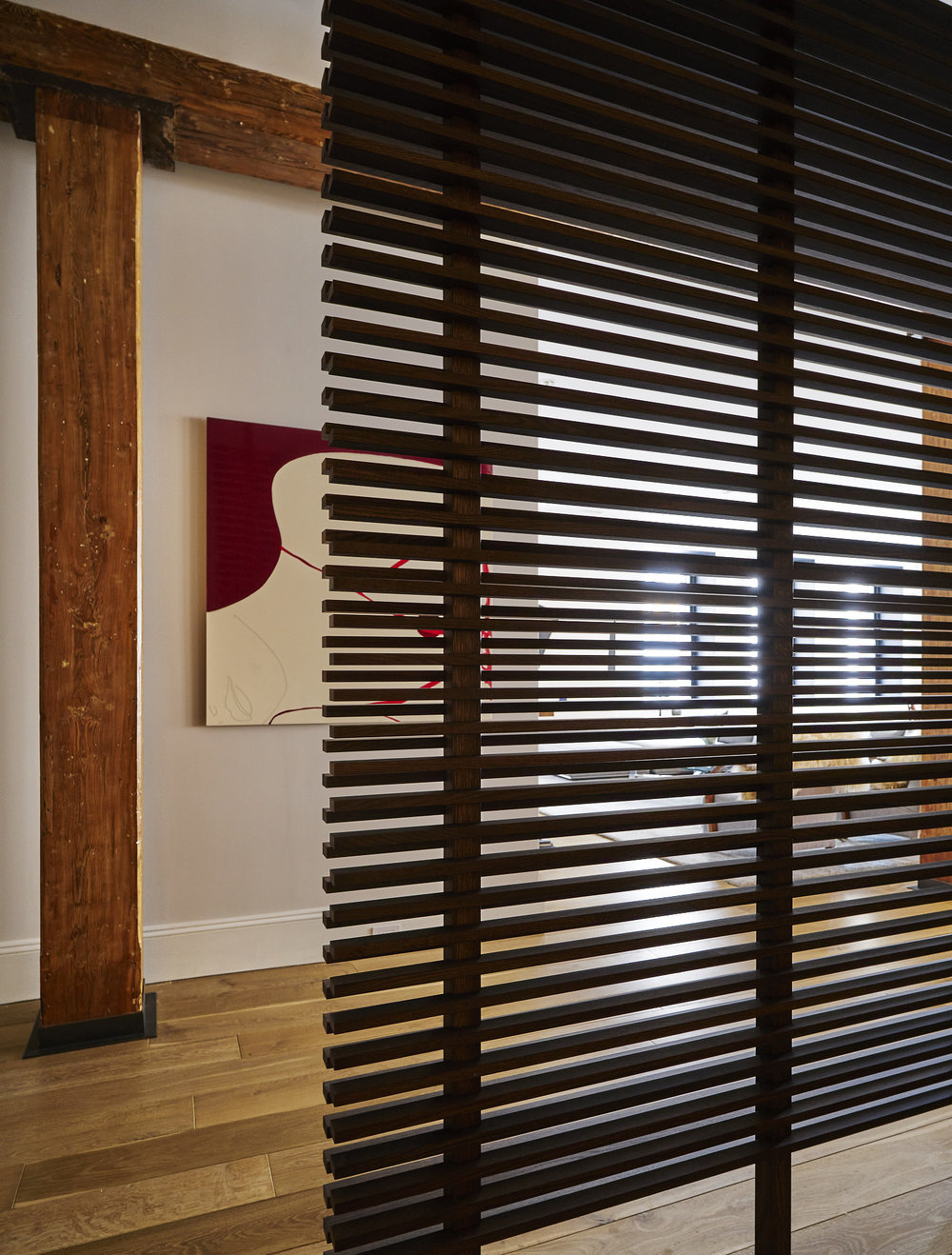Modern Soho loft renovation wooden Japanese screen