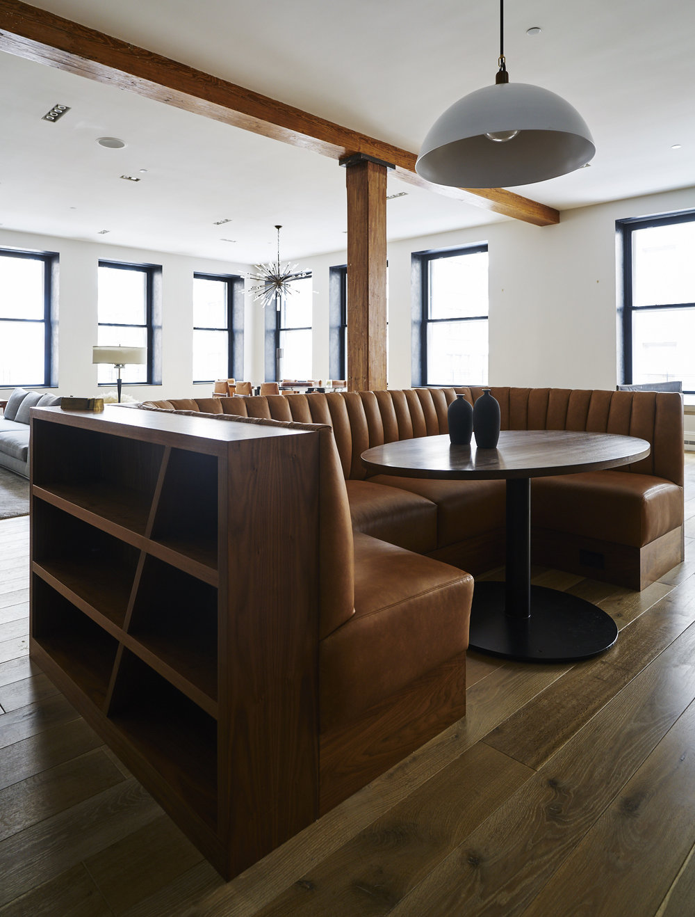 Modern Soho loft custom kitchen leather and wood banquette