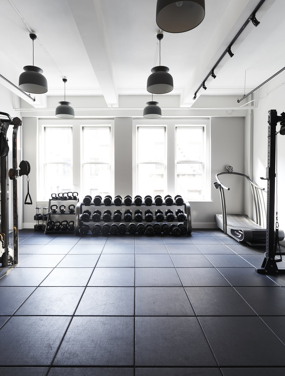 Interior design for a modern workout space and Pilates studio in Chelsea, NY