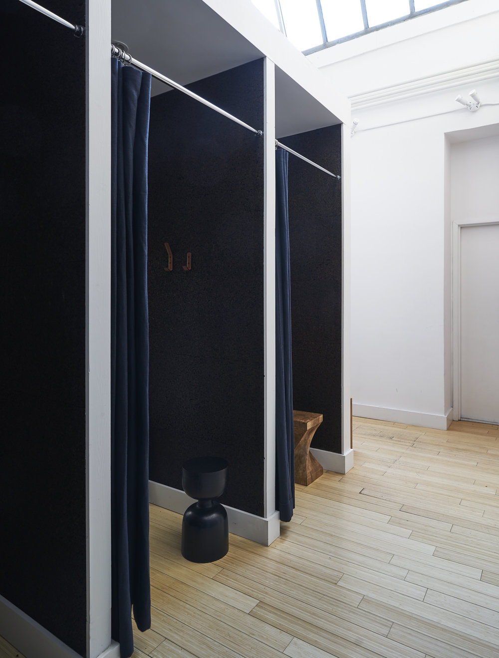 Changing room in a modern workout space and Pilates studio in Chelsea, NY