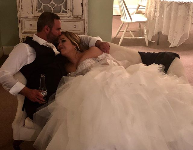 We had a lot of great moments on our big day, but this one at the end of the night when it was all over and we found a couch upstairs away from all the craziness, was my favorite ! Thank you whoever snuck this shot 📸📷 #weddingdress #randyfenolidress #aftertheparty #upstairs #sotiredsohappy #wifey