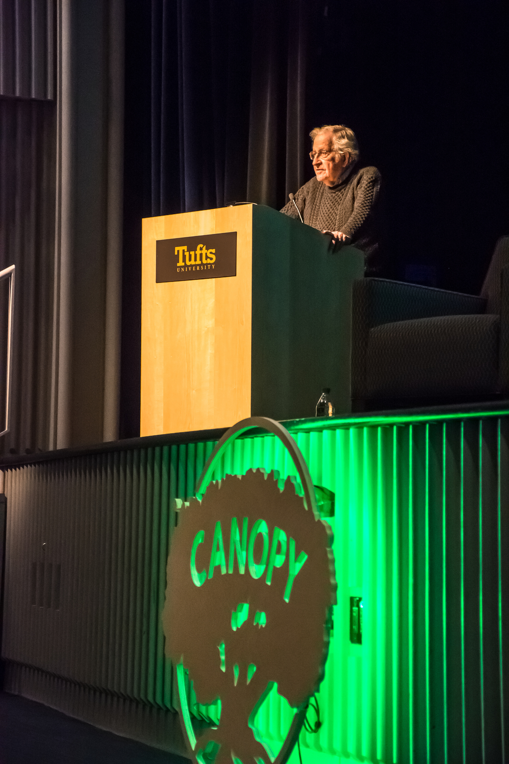 Noam Chomsky addressed the crowd at the very first Canopy Social Impact Series event.