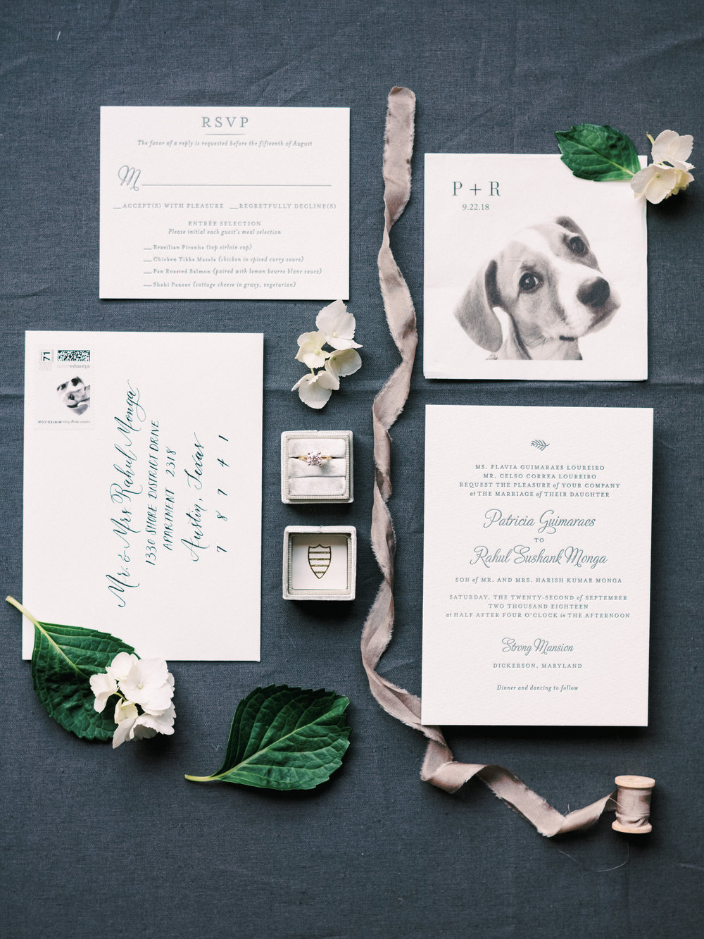 Custom cocktail napkins and stamps featuring their beloved pup was such a fun detail! Photography by Clarence Chan.