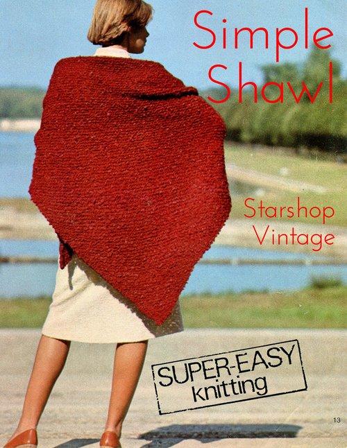 Very Simple Shawl Knitting Pattern Starshop Vintage