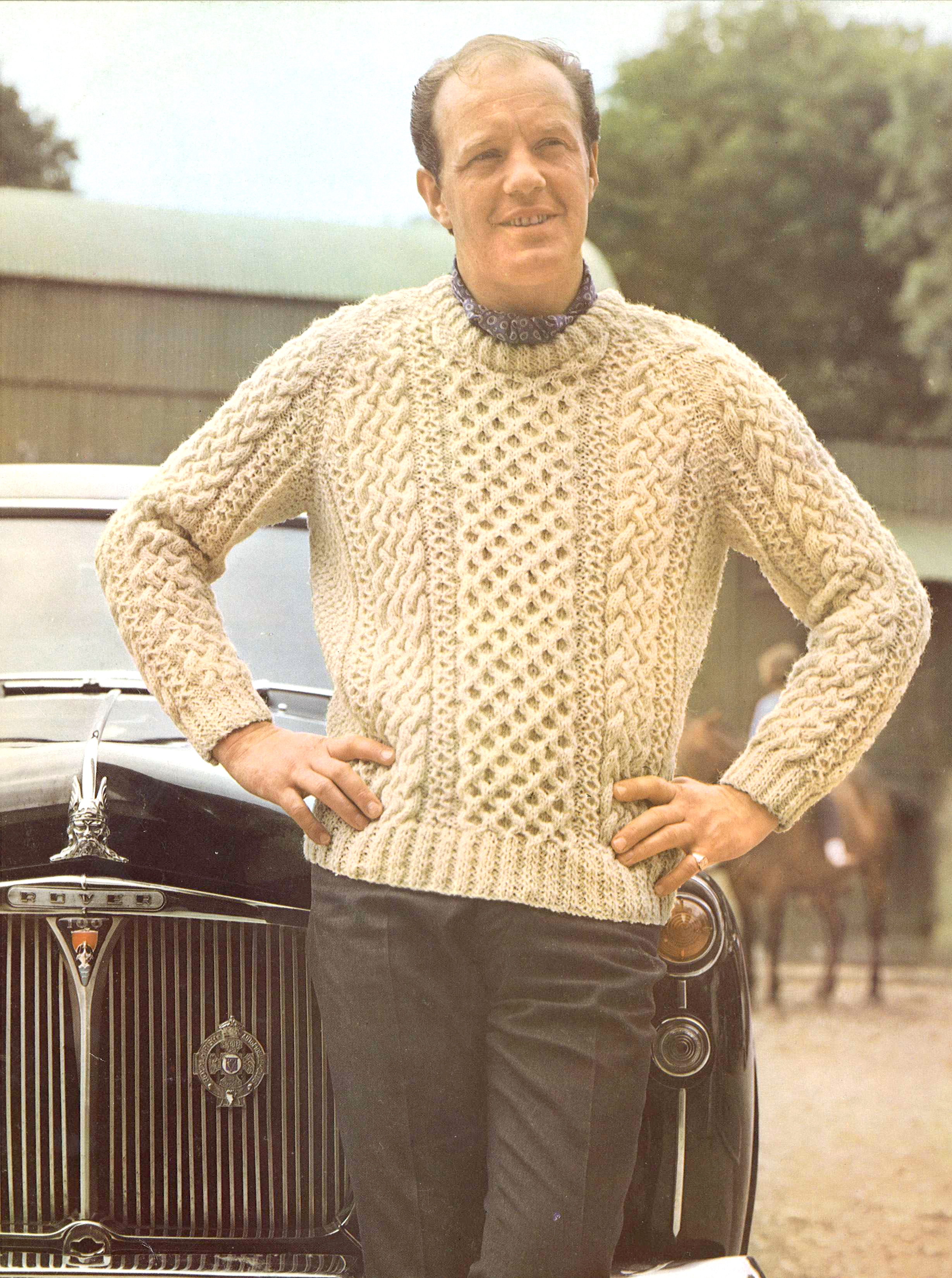 Lewis Aran Sweater 1960s Knitting Pattern 60s Cable Knit Jumper