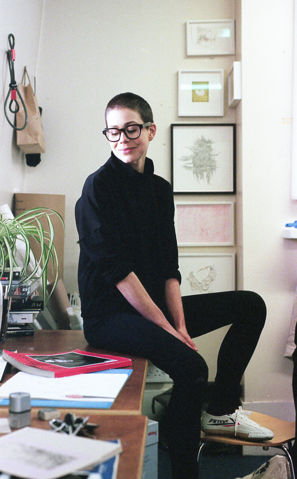 Alice wearing the L.B Pullover made from a black, medium weight Merino Jersey