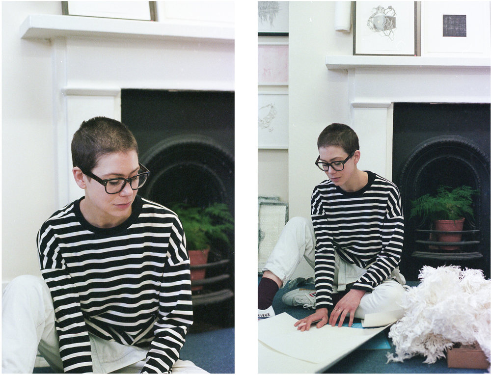 Alice wearing the crew neck variation of the L.B Pullover in a Navy stripped cotton jersey.