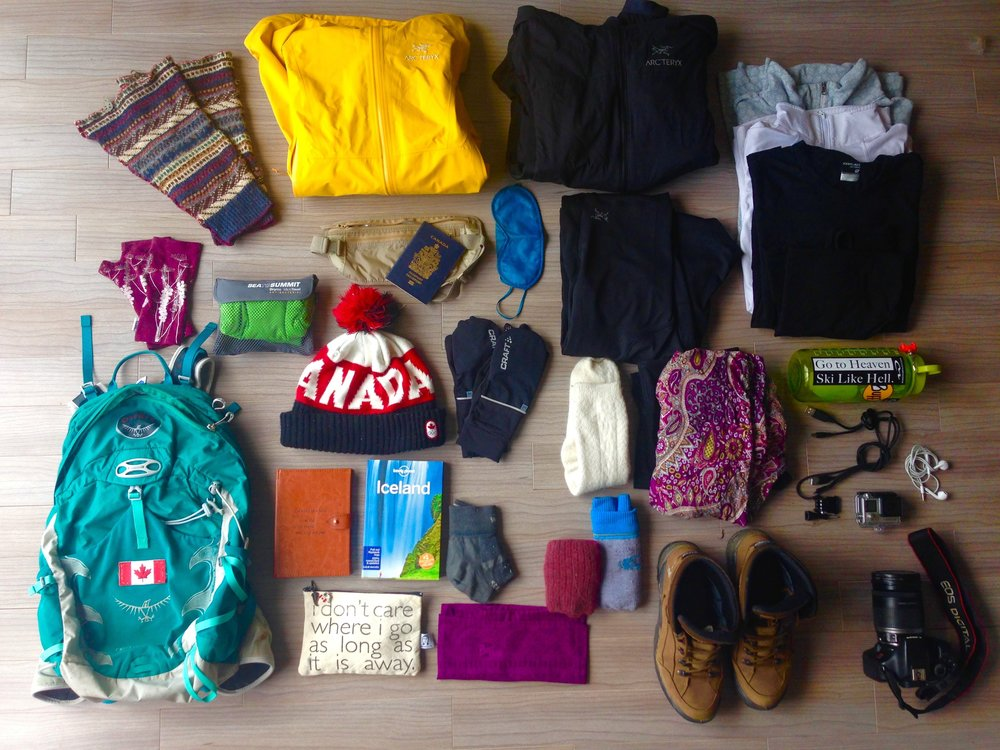 What I brought to Iceland, 3.5 Kilos! Everything fit in my 20 litre Osprey backpack.