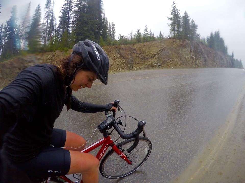Climbing in storm/hail conditions...just before encountering grizzly.  Too busy peddling to capture grizzly.