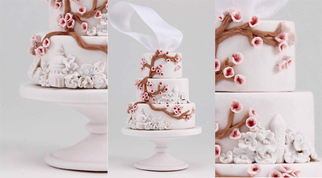 Minature replica of cherry blossom wedding cake.jpg