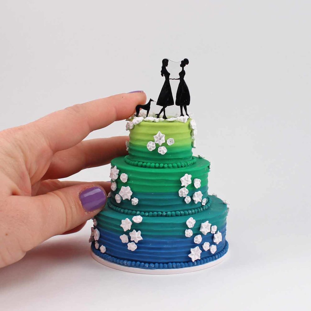 mini wedding cake replica of blue and green cake.jpg