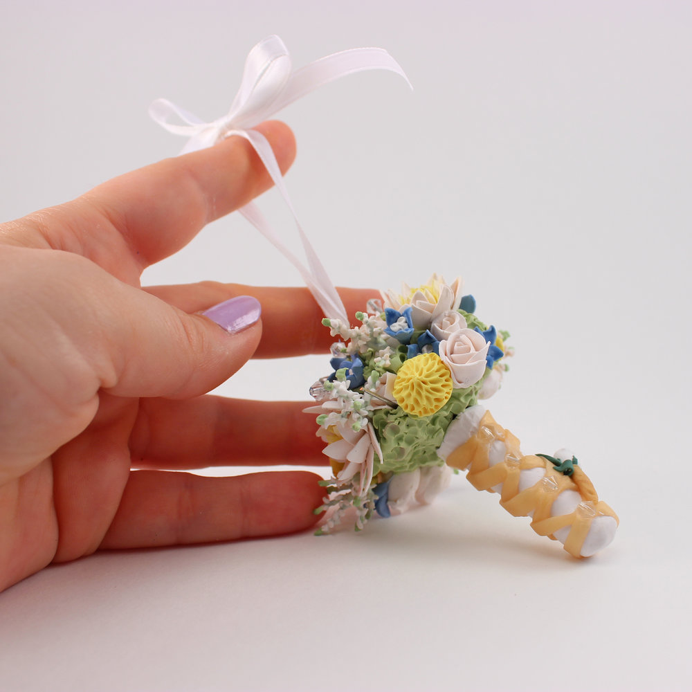 blue and pink wedding bouquet mini replica.jpg