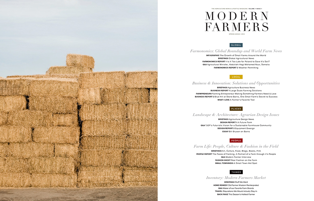 Modern Farmer Prototype Magazine Design Table of Contents