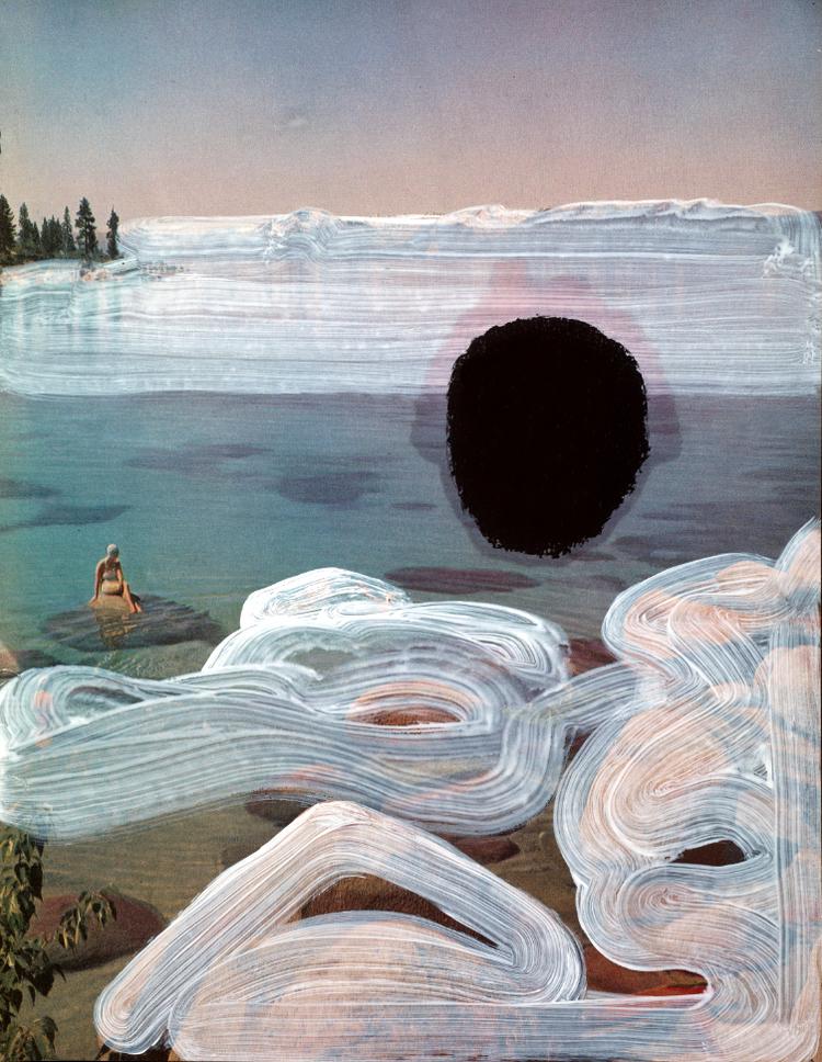 Blind Spot,mixed media on vintage print, 2015