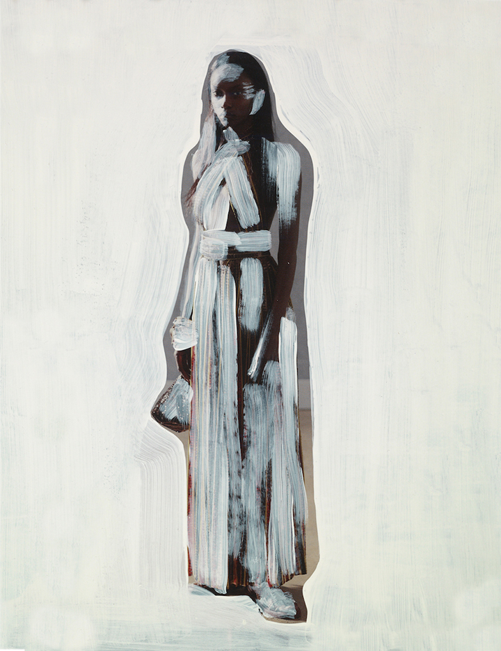 Woman in White,  acrylic on magazine, 2014