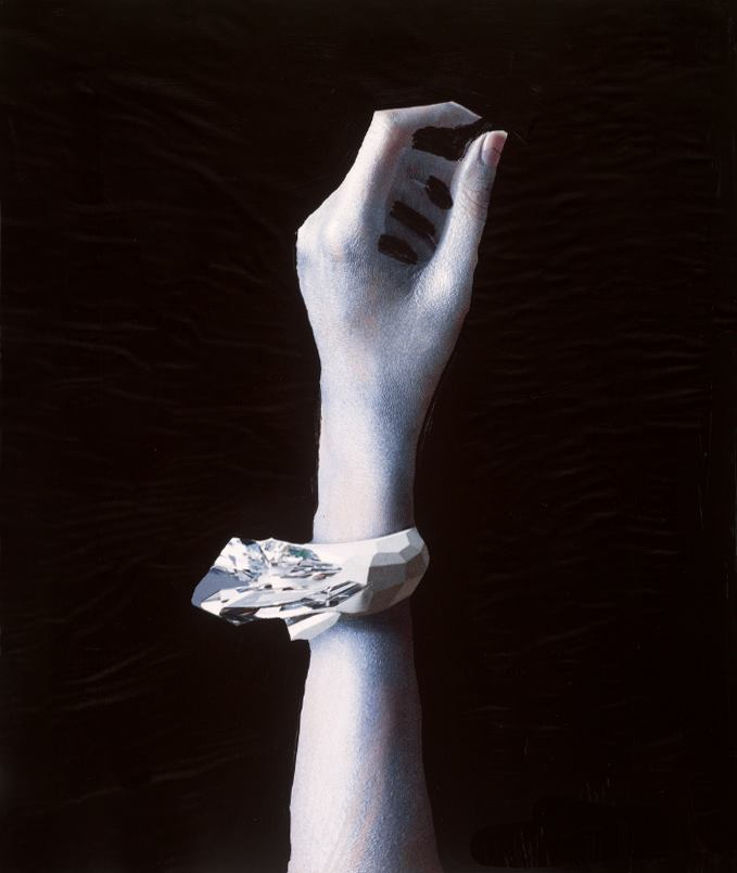 Bracelet,  acrylic on magazine