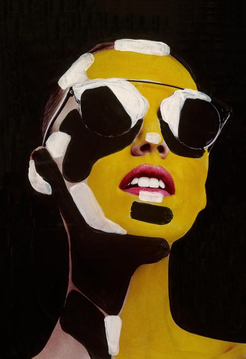 Sunny , acrylic on magazine | SOLD