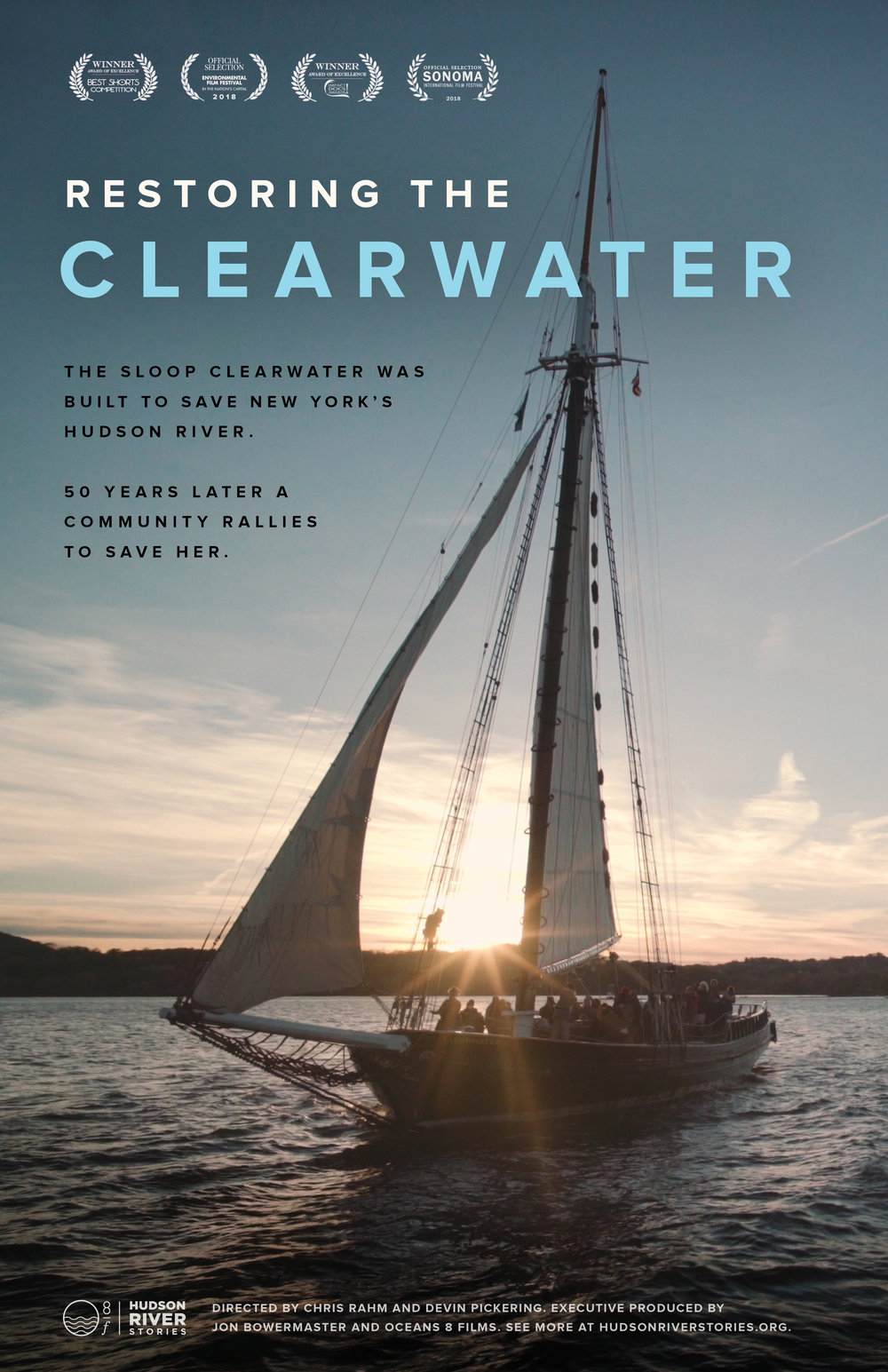 "Devin Pickering and Chris Rahm on the Clearwater Sloop, the tall ship founded by Pete Seeger that brings health and awareness to the Hudson River. Poster for ""Seeds of Hope"" – a film by Jon Bowermaster, Oceans 8 Films, the Hudson Valley Farm Hub and Seedshed."