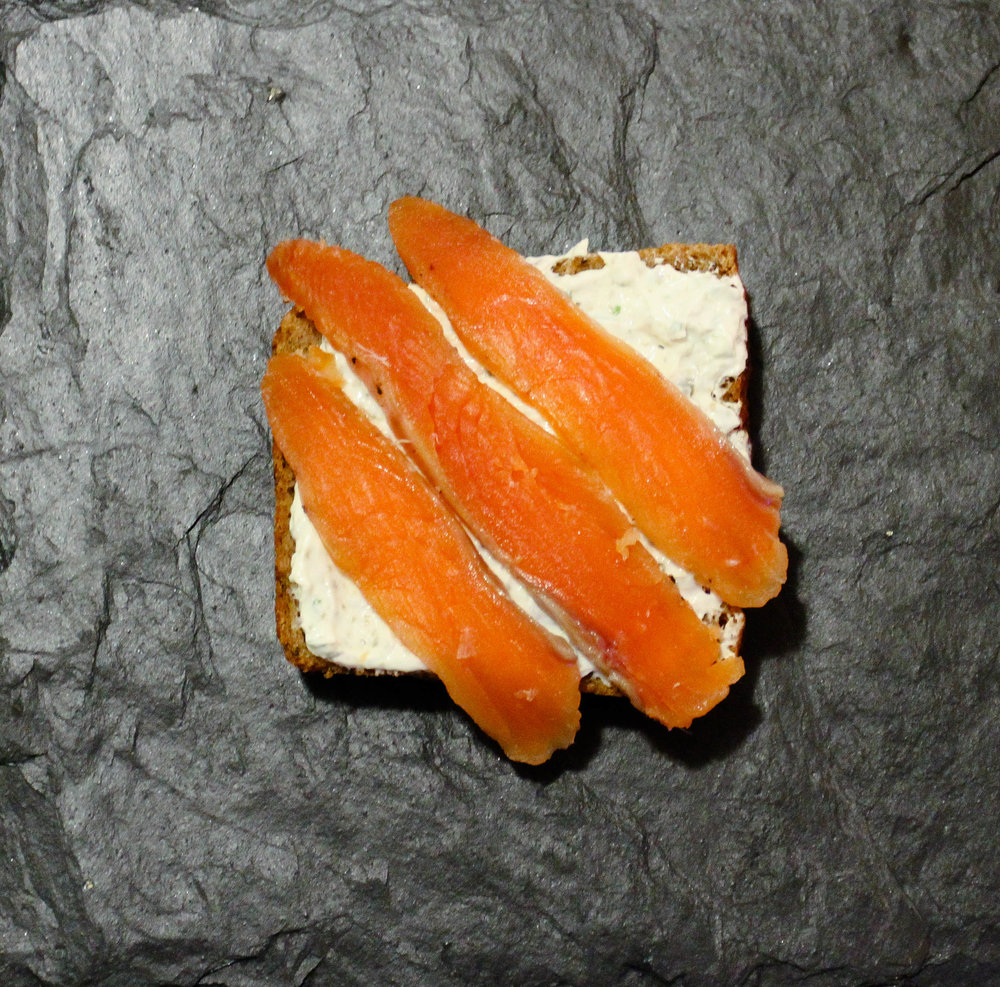 Gravlax with Caper Cream Cheese. Missed a few of the scales, woe is me.