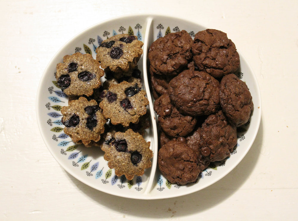 Buckwheat-blueberry financiers; Vahlrona chocolate cookies.