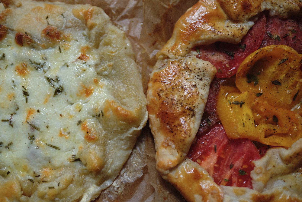 mozzarella-potato and tomato-onion savory tarts