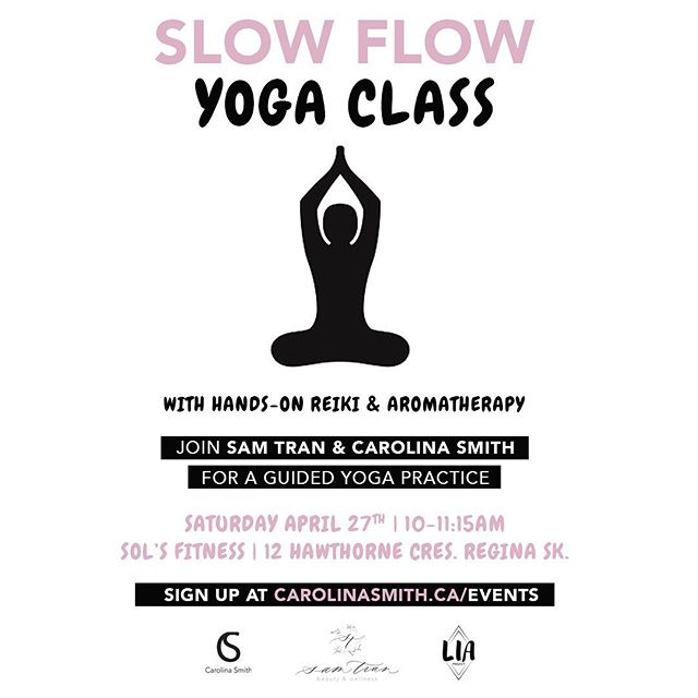 📣 Regina Sk! RELAXATION • FLOW • CONNECTION are coming your way on April 27th! I'm so excited to be collaborating with the amazing @samtranbeauty to offer YOU a Slow Flow Yoga class with #aromatherapy & hands-on #reiki 💕  You won't want to miss this one! Tag a friend below! 👇🏼 . . . #reginayoga #reginayqr #reginareiki #slowflowyoga #livinginalignment #liaproject #selfcare #selflove #mindfulliving #soulfood #soul #time #nature #journaling #meditation #love #friendships